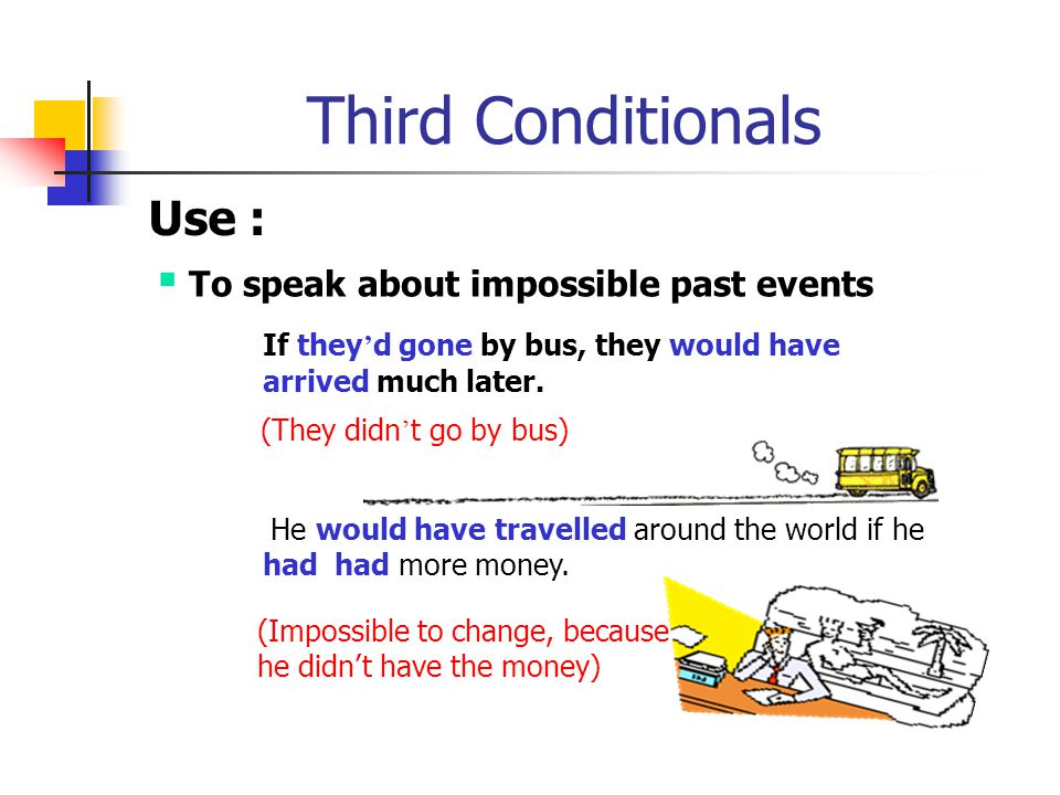 Third Conditionals Use : To speak about impossible past events