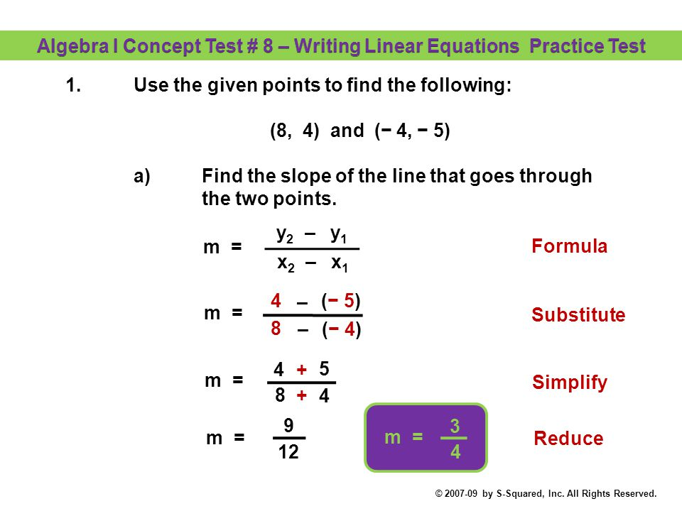 algebra i concept test 8 writing linear equations practice test rh slideplayer com Multi-Step Equations Test Physical Science Equations Test