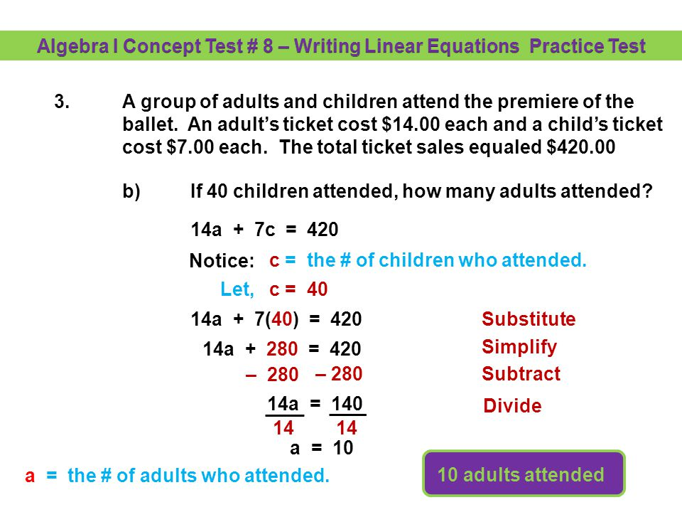 Algebra I Concept Test # 8 – Writing Linear Equations Practice Test