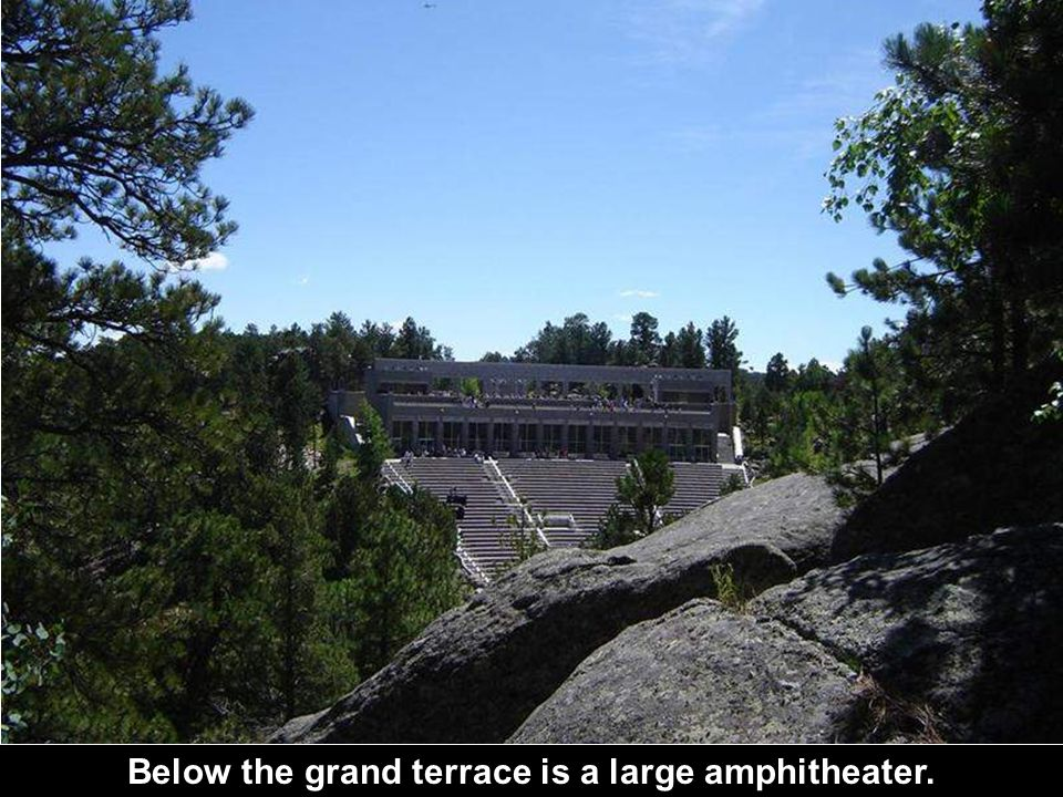 Below the grand terrace is a large amphitheater.