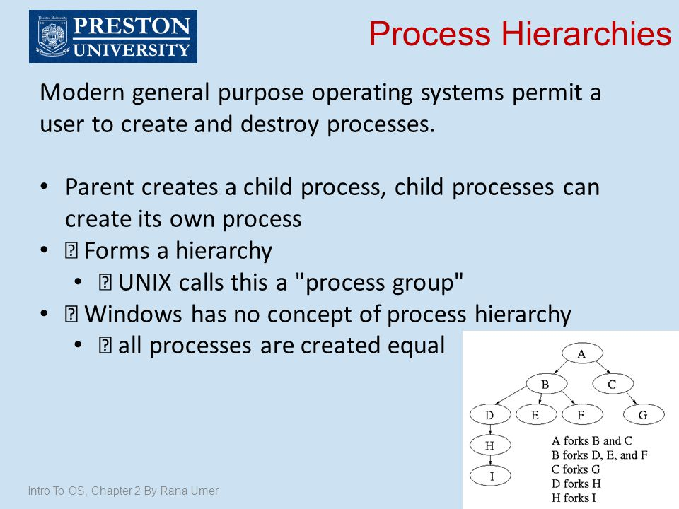 Process Hierarchies Modern general purpose operating systems permit a user to create and destroy processes.