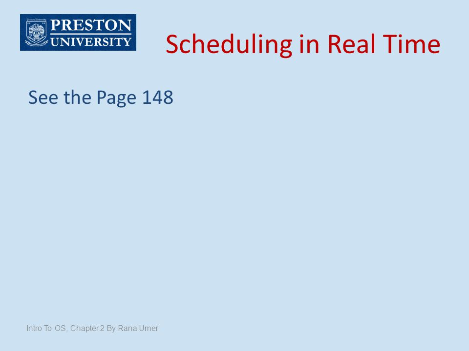 Scheduling in Real Time
