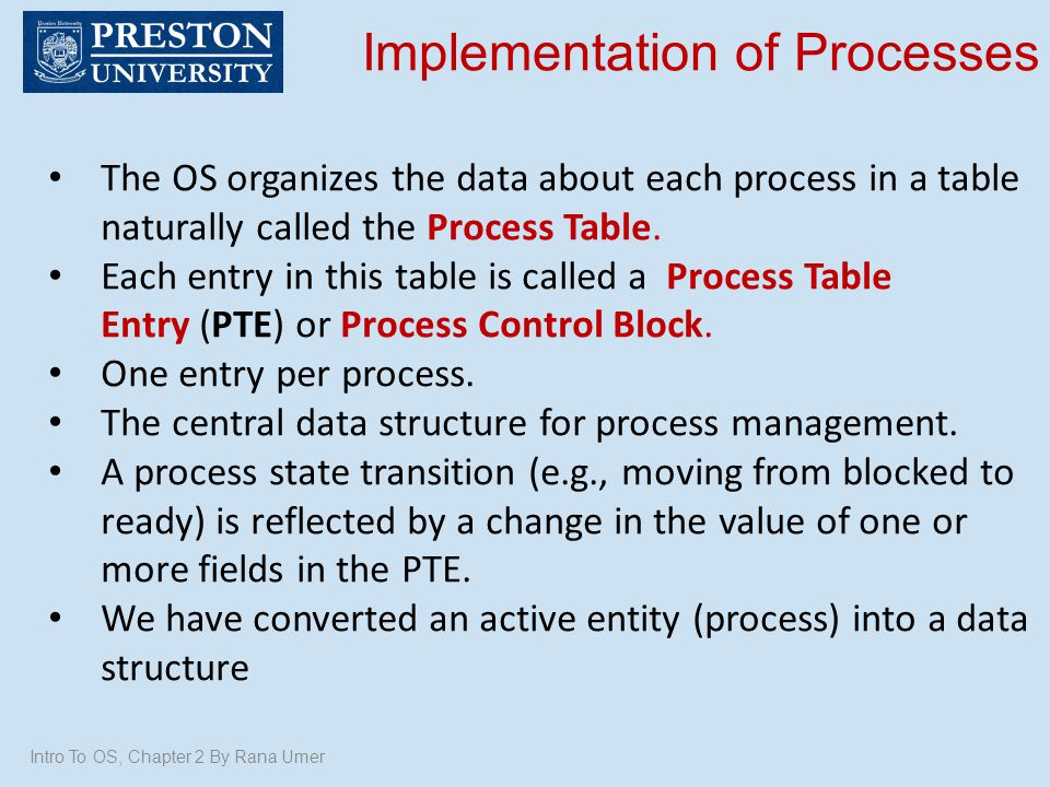 Implementation of Processes
