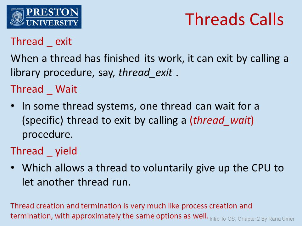 Threads Calls Thread _ exit