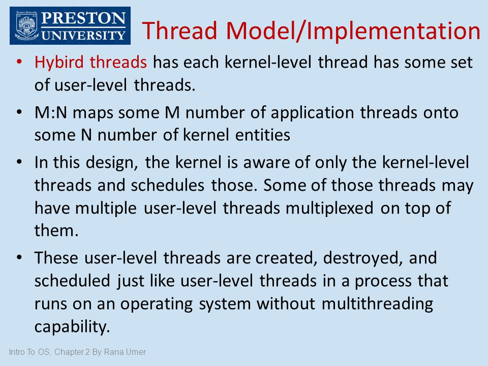 Thread Model/Implementation