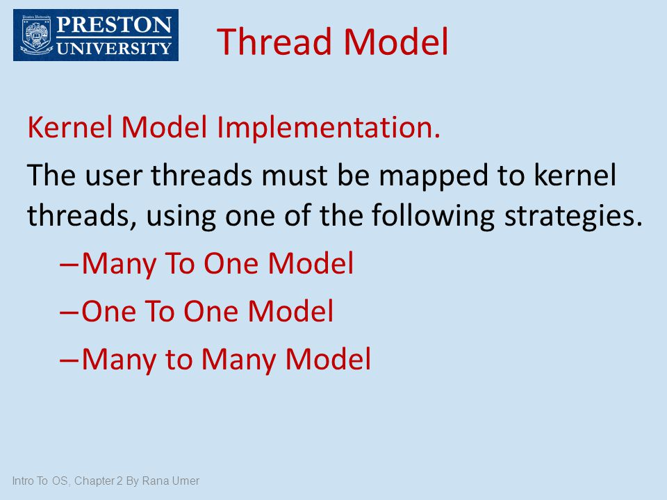 Thread Model Kernel Model Implementation.