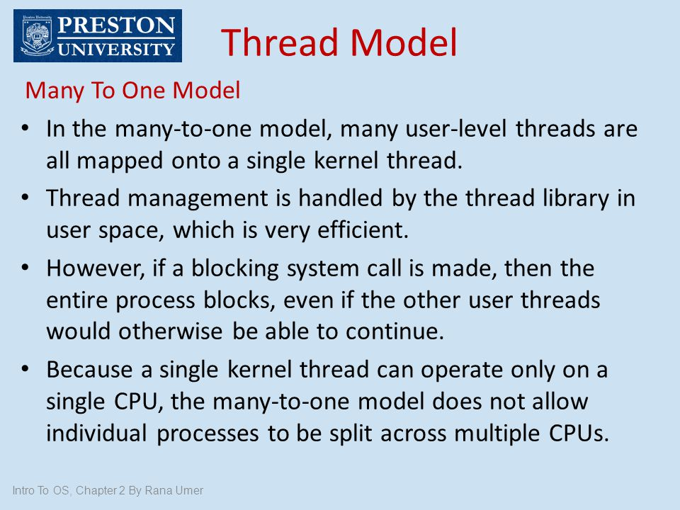 Thread Model Many To One Model