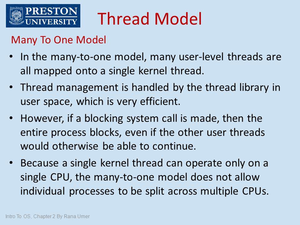 Thread Model Many To One Model
