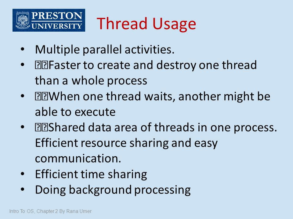 Thread Usage Multiple parallel activities.