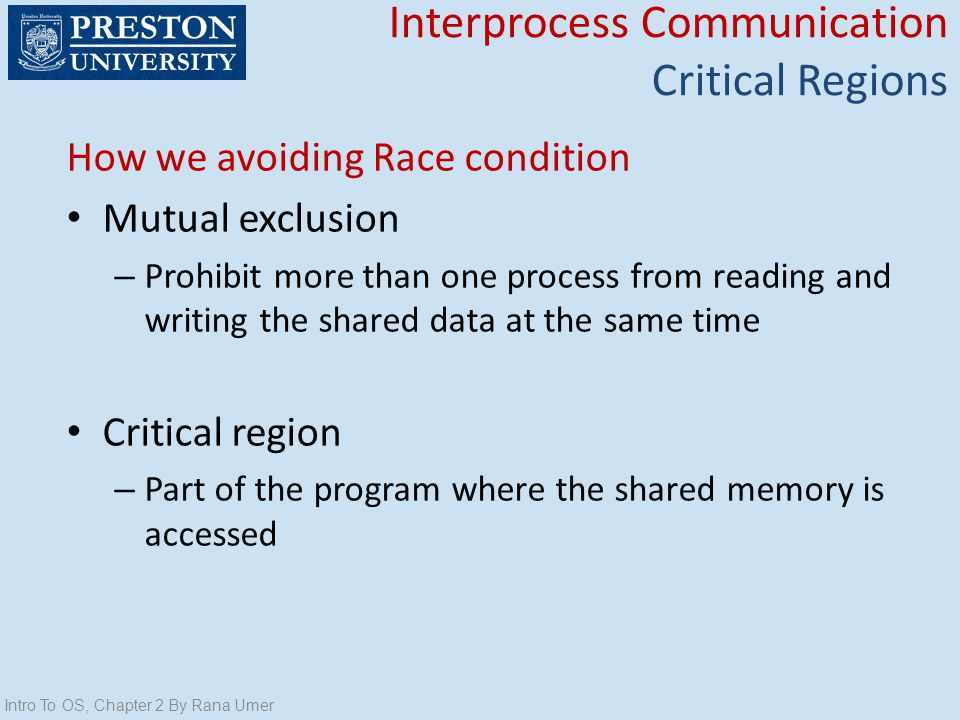 Interprocess Communication Critical Regions