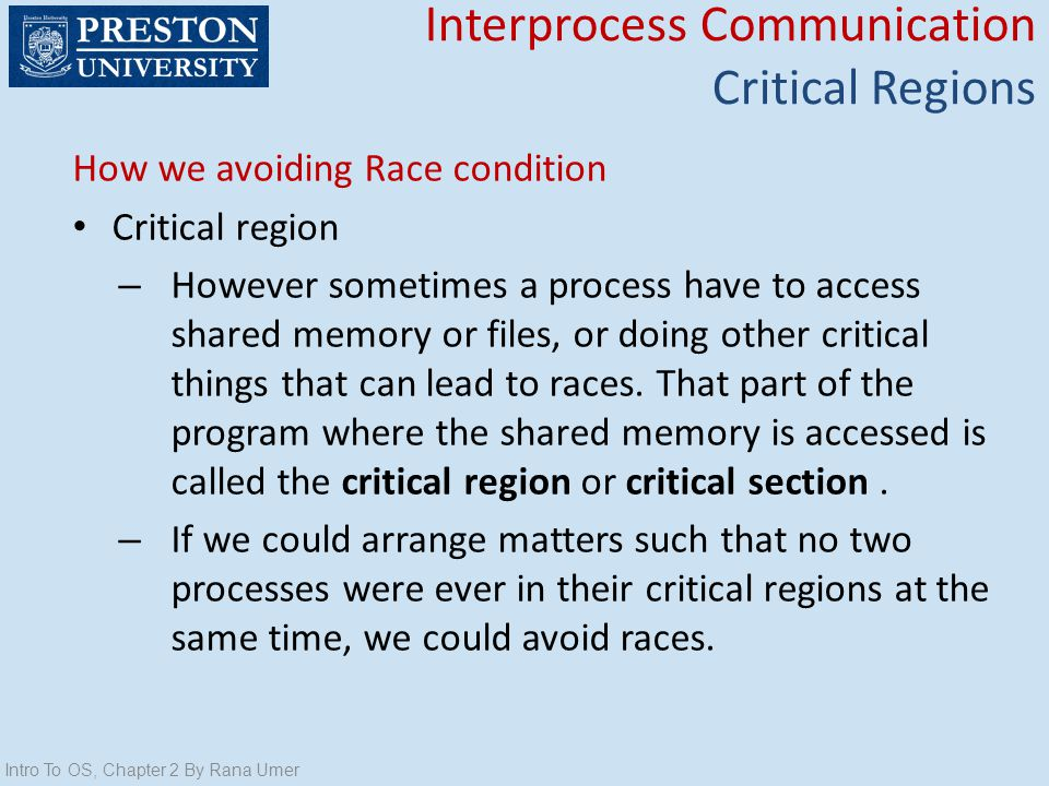 Interprocess Communication Critical Regions
