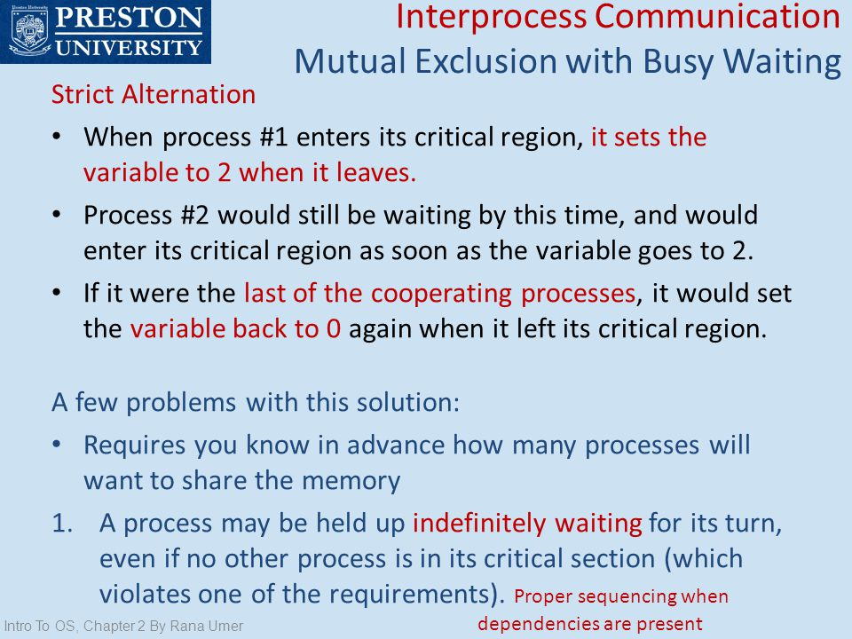 Interprocess Communication Mutual Exclusion with Busy Waiting