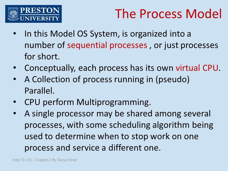 The Process Model In this Model OS System, is organized into a number of sequential processes , or just processes for short.