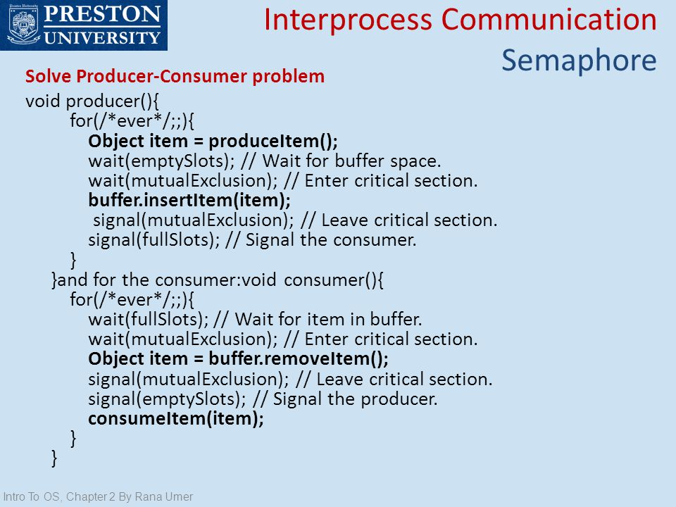 Interprocess Communication Semaphore