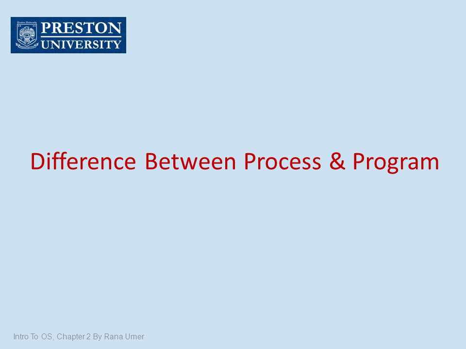 Difference Between Process & Program