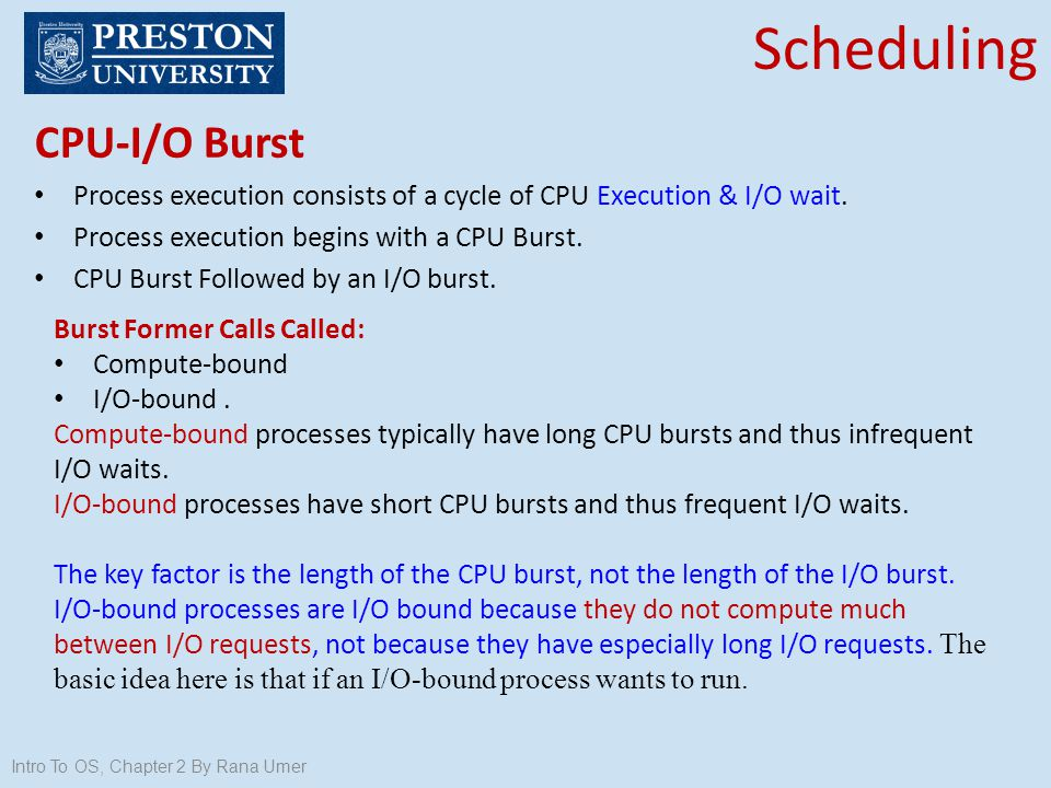 Scheduling CPU-I/O Burst