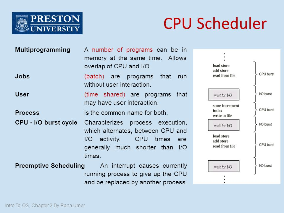 CPU Scheduler Multiprogramming A number of programs can be in memory at the same time. Allows overlap of CPU and I/O.