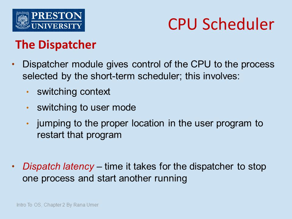 CPU Scheduler The Dispatcher