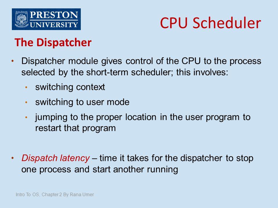 CPU Scheduler The Dispatcher