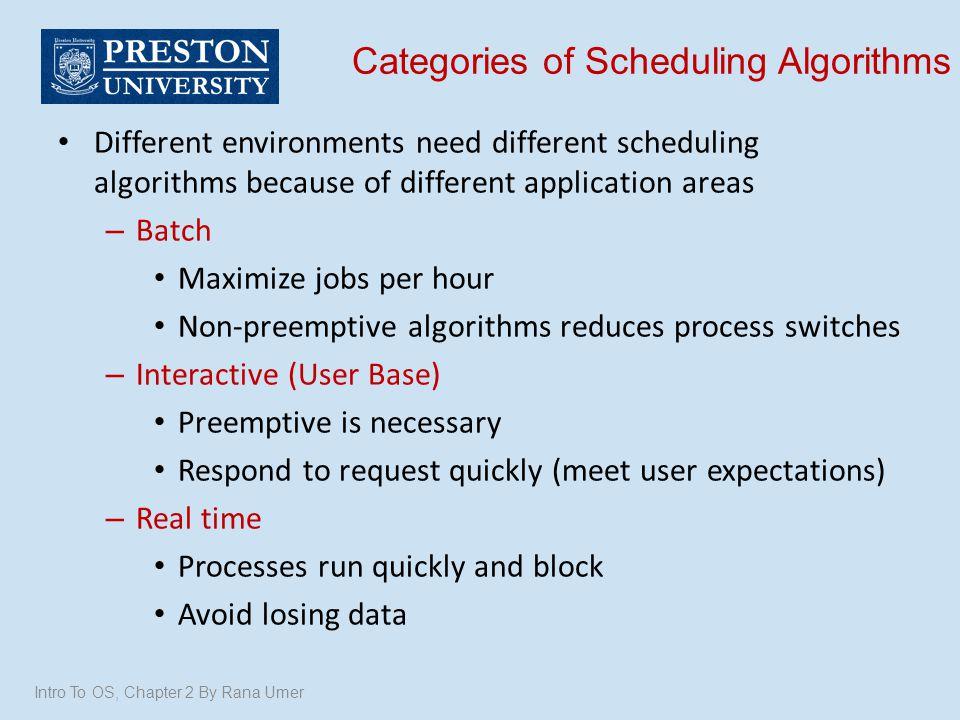 Categories of Scheduling Algorithms