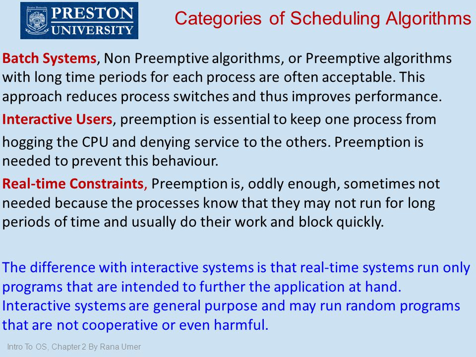 Categories of Scheduling Algorithms