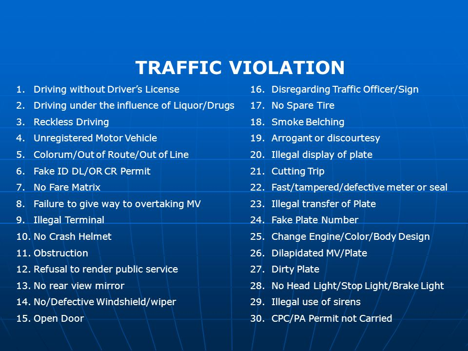 TRAFFIC VIOLATION Driving without Driver's License 16. Disregarding Traffic Officer/Sign.