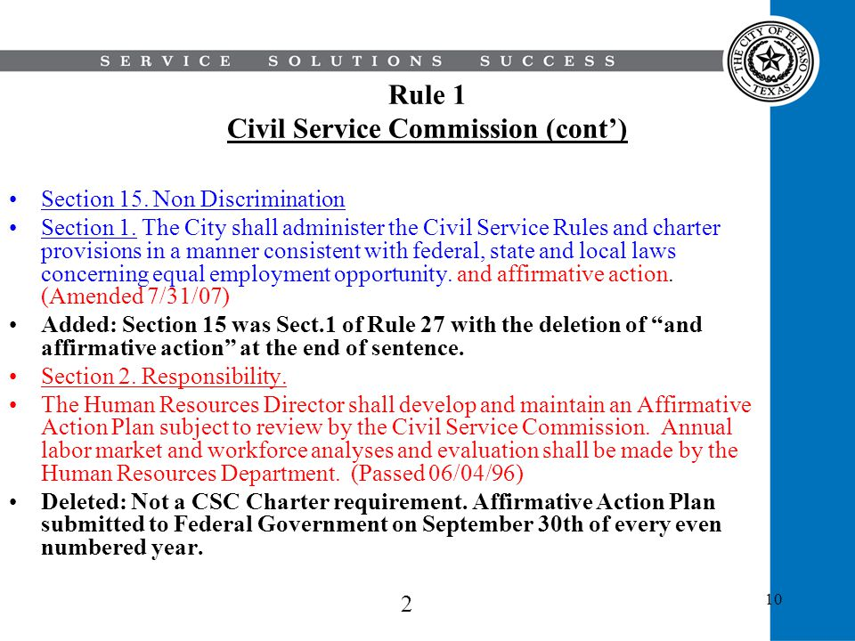 Rule 1 Civil Service Commission (cont')