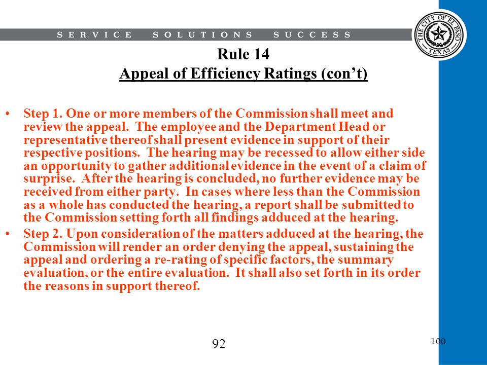 Rule 14 Appeal of Efficiency Ratings (con't)