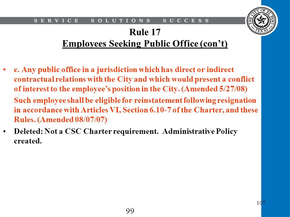 Rule 17 Employees Seeking Public Office (con't)