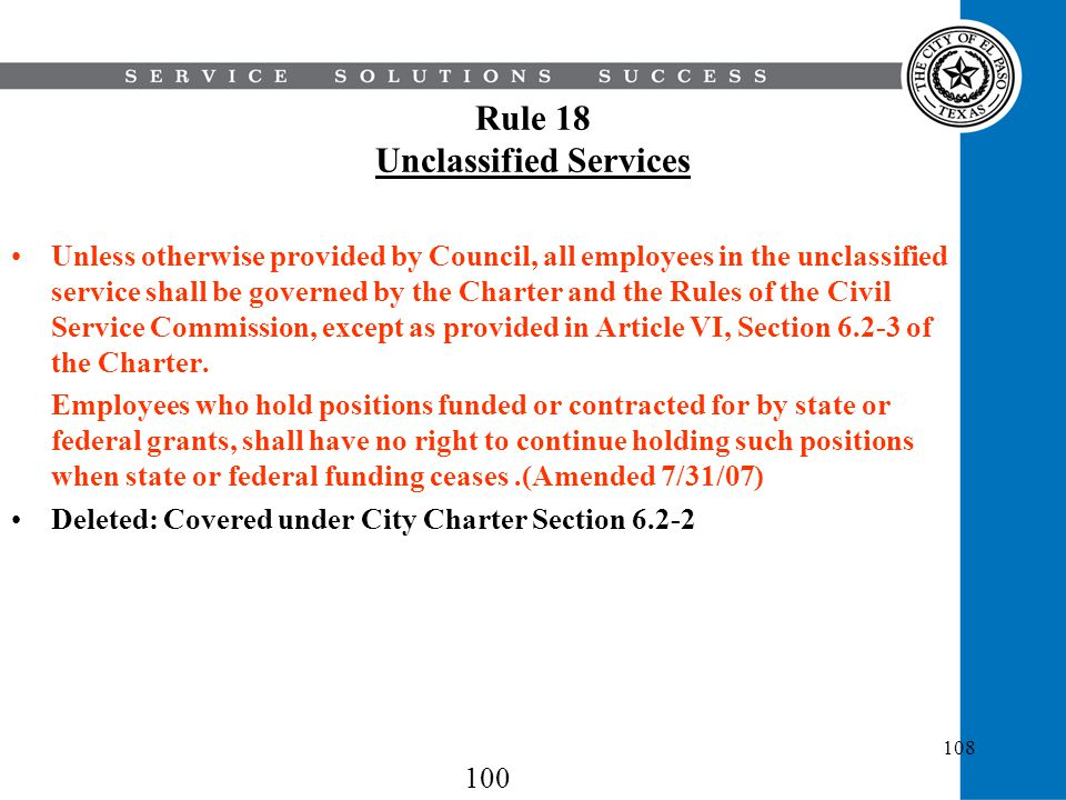 Rule 18 Unclassified Services