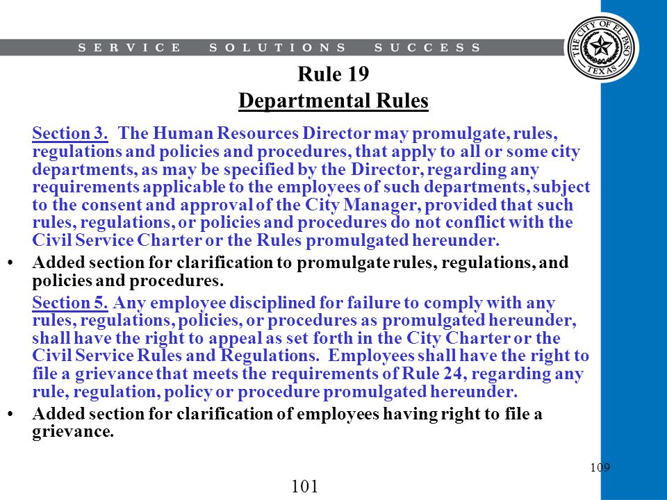 Rule 19 Departmental Rules