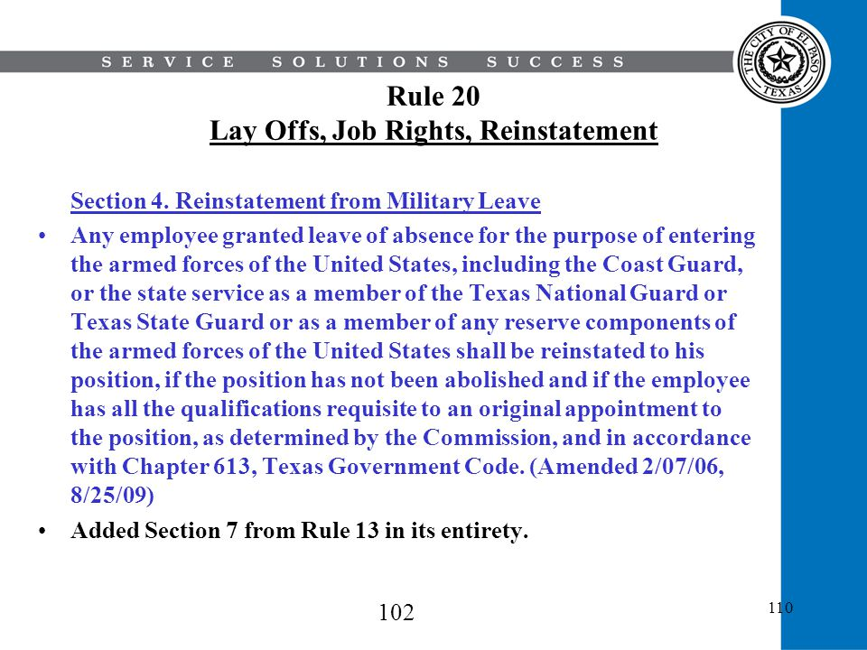 Rule 20 Lay Offs, Job Rights, Reinstatement