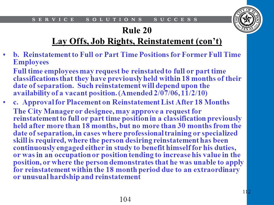Rule 20 Lay Offs, Job Rights, Reinstatement (con't)