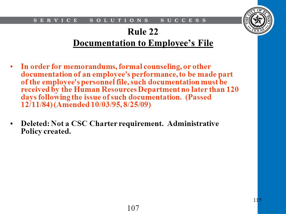 Rule 22 Documentation to Employee's File