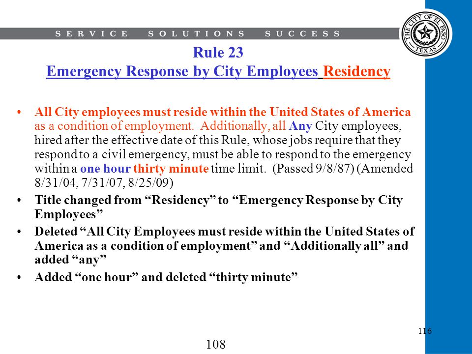 Rule 23 Emergency Response by City Employees Residency