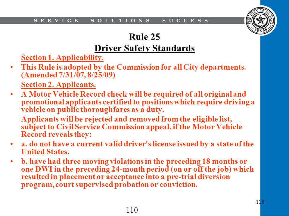 Rule 25 Driver Safety Standards