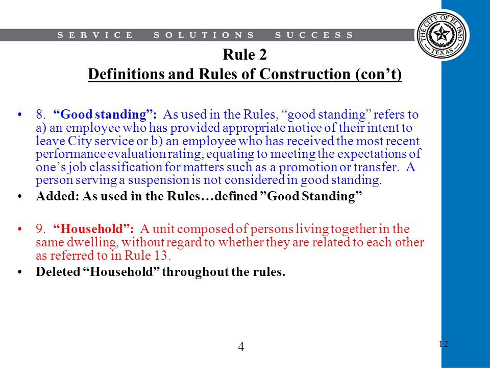 Rule 2 Definitions and Rules of Construction (con't)