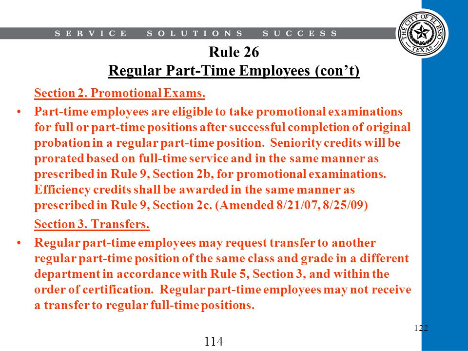 Rule 26 Regular Part-Time Employees (con't)