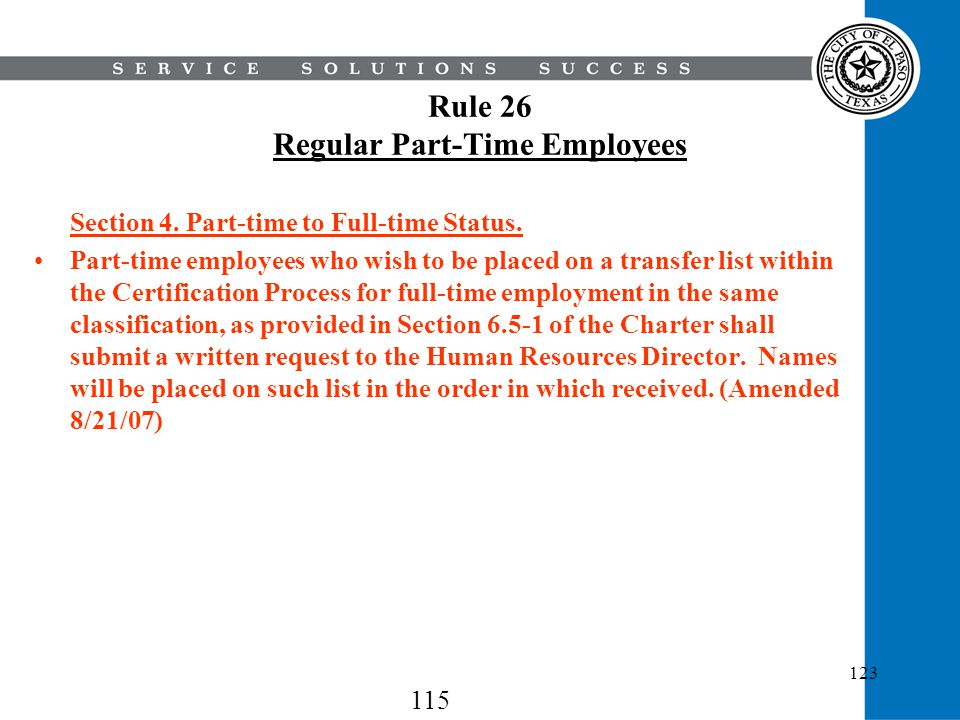 Rule 26 Regular Part-Time Employees