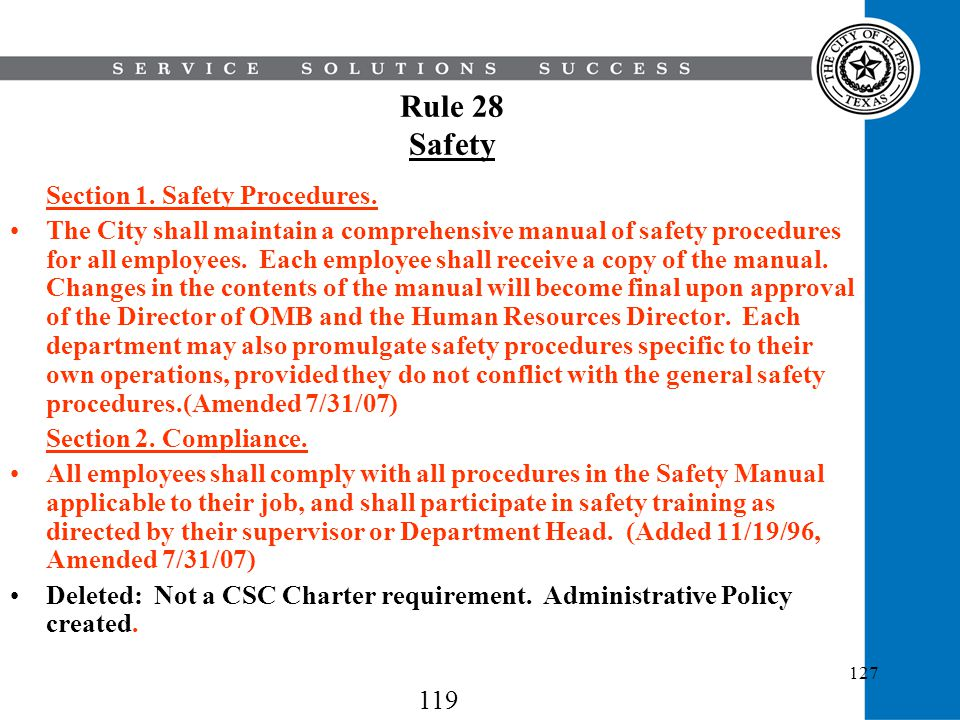 Rule 28 Safety Section 1. Safety Procedures.