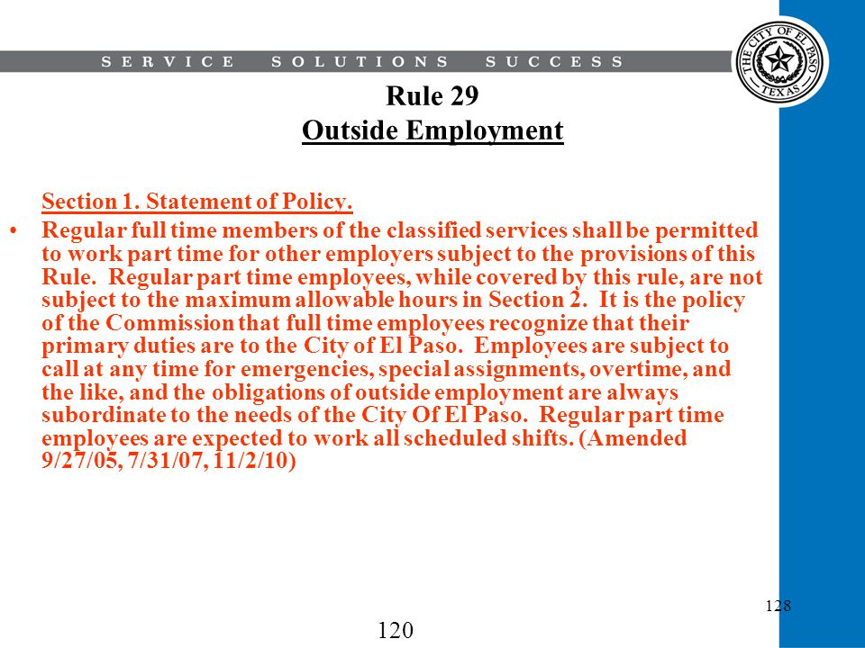 Rule 29 Outside Employment