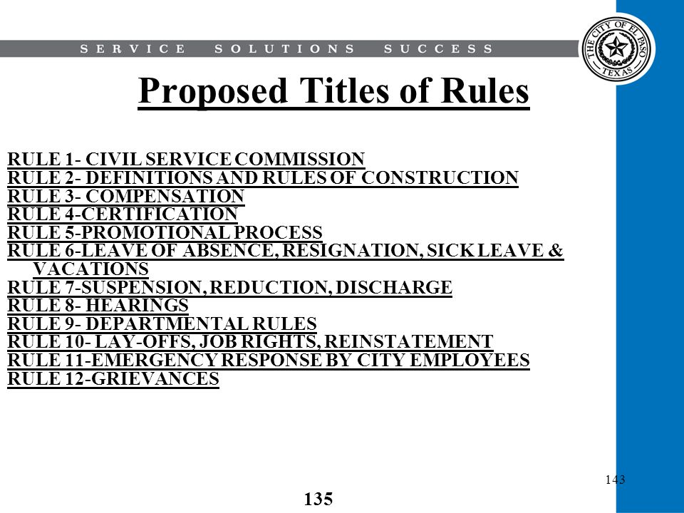 Proposed Titles of Rules