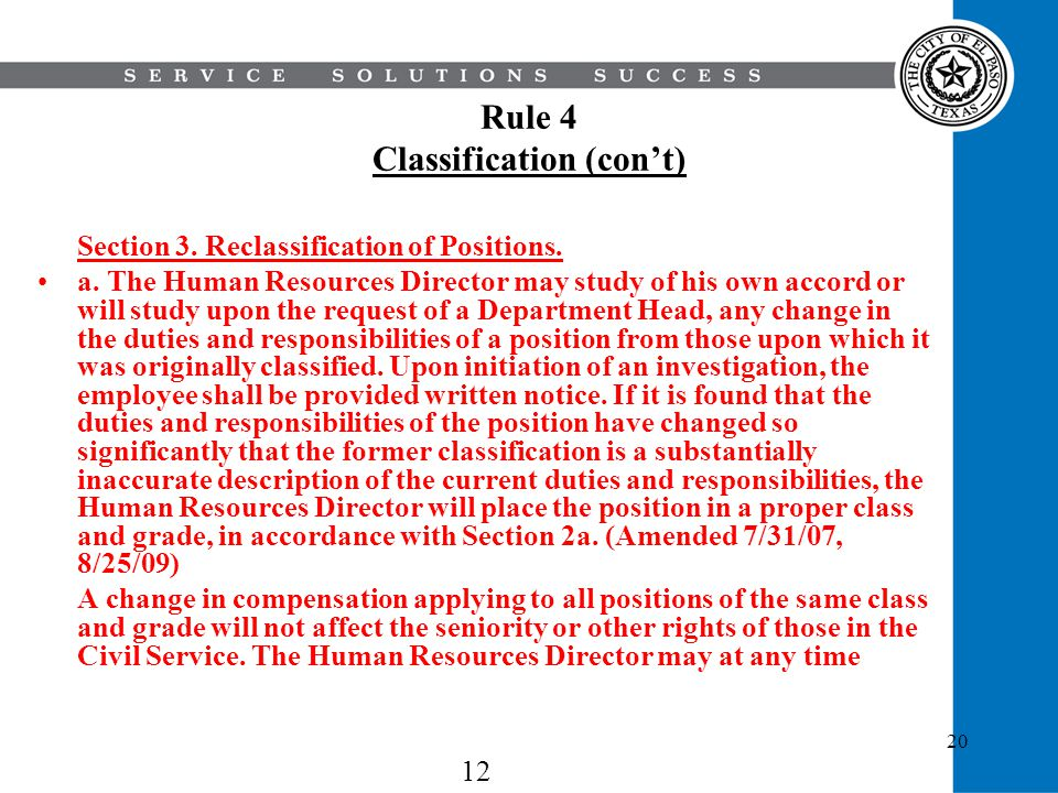 Rule 4 Classification (con't)