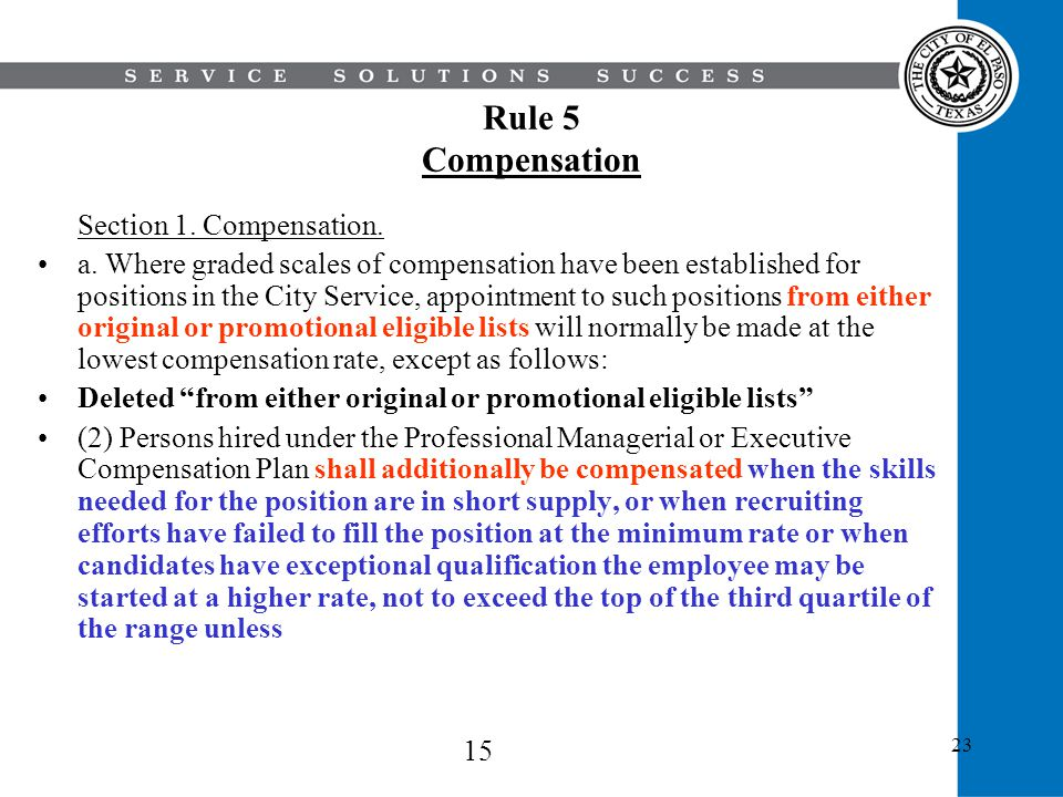 Rule 5 Compensation Section 1. Compensation.