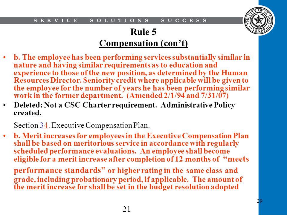 Rule 5 Compensation (con't)