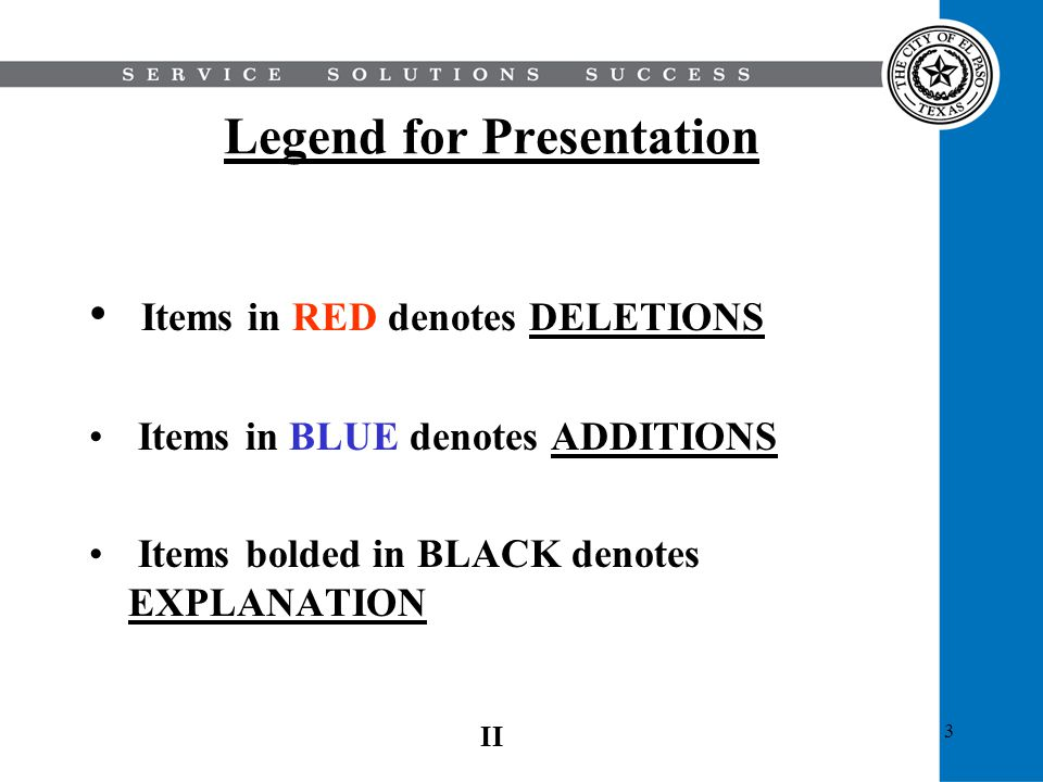 Legend for Presentation
