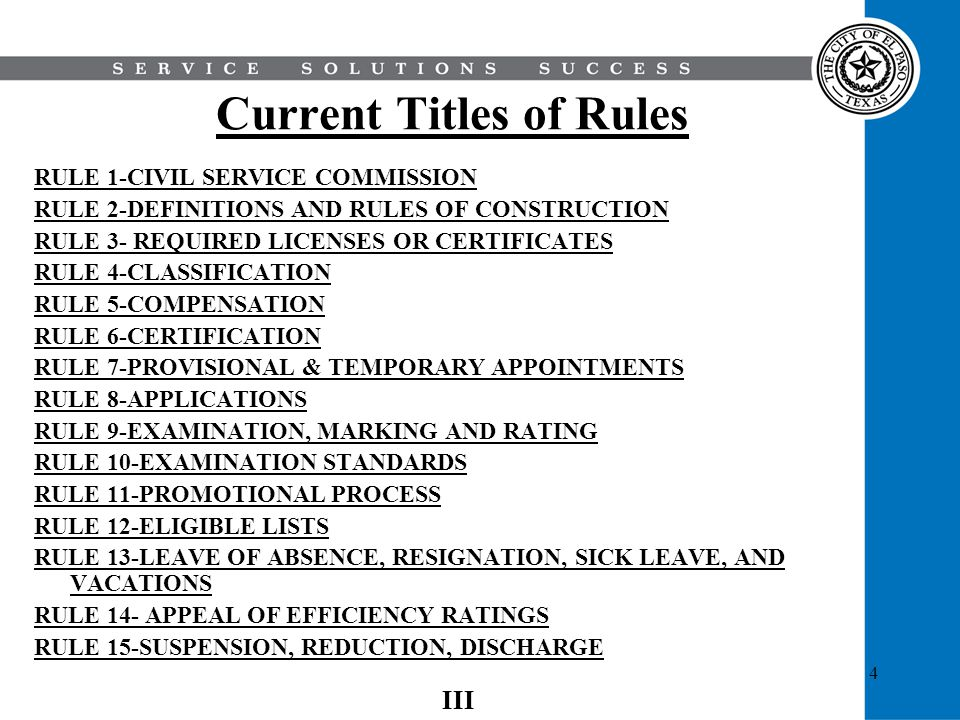 Current Titles of Rules