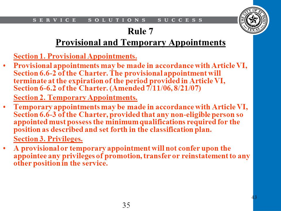 Rule 7 Provisional and Temporary Appointments