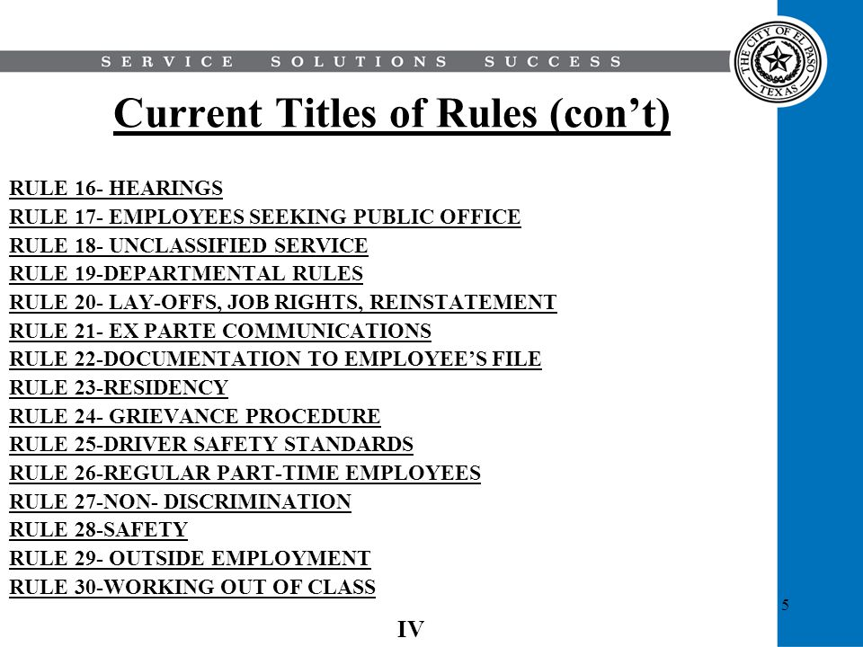 Current Titles of Rules (con't)