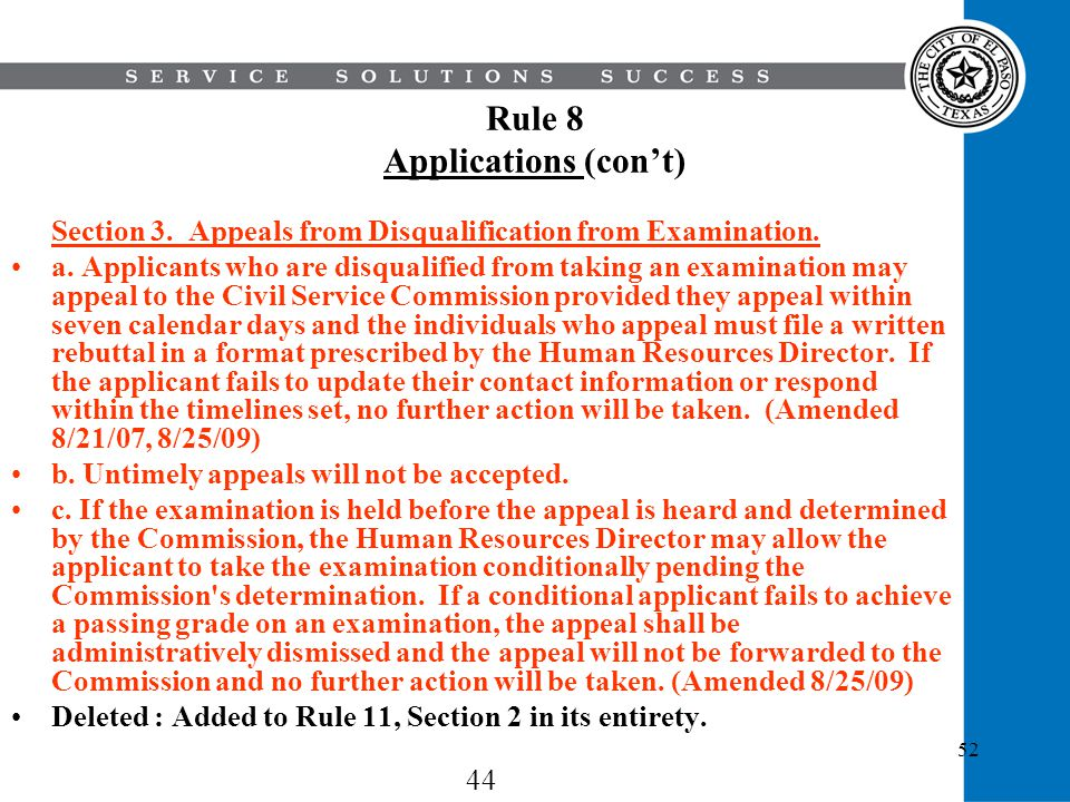 Rule 8 Applications (con't)